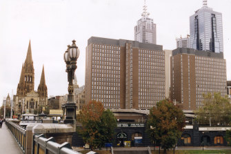 The old Gas and Fuel Corporation towers on the site of what is now Federation Square.