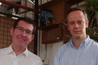 Irithmics founders Grant Fuller and Balázs Boros, who say 14 per cent of the ASX-100 is exposed to their technology.