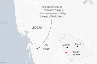 The explosion targeted a cemetery in  Jeddah, also known as Jiddah, where a Remembrance Day service was taking place.