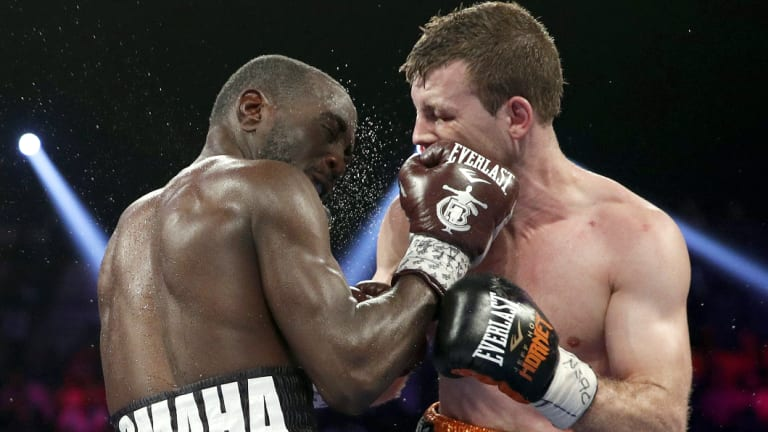 Merciless: Terence Crawford shows Jeff Horn who's the boss in Las Vegas.