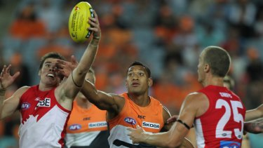 Cameo: Israel Folau's big-money AFL stint landed just two goals for the fledgling Giants.