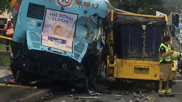 The view from behind after a truck (right) collided with two buses and multiple cars.
