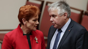 One Nation's Pauline Hanson and Centre Alliance's Rex Patrick are negotiating with the government over its three-stage tax package.