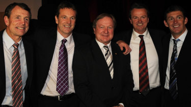 The Daniher clan with Essendon coaching great Kevin Sheedy (middle).