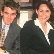 Michael Rowland and Lisa Millar as young political reporters covering the 1996 federal election.