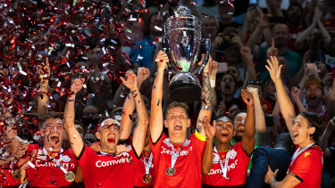 Adelaide United celebrate after winning the last FFA Cup final in 2019. The tournament was not played in 2020 due to COVID-19 but could serve a pivotal role in 2021.
