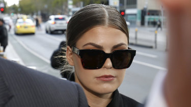 Belle Gibson was questioned about the dress she said she bought specially for her court appearance.