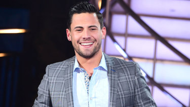 Andrew Brady during a Celebrity Big Brother triple eviction in 2018.