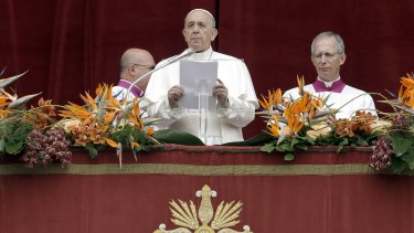 "Close to the Christians of Sri Lanka: Pope Francis delivers his ""Urbi et Orbi"" (""to the city and the world"") message in St Peter's Square at the Vatican."