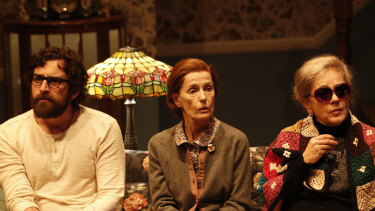 Helen Morse (centre) with Johnny Carr and Melita Jurisic in the MTC's production of Annie Baker's play John.