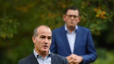 Education Minister James Merlino with Premier Daniel Andrews.