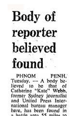 """""""Body of reporter believed found"""". From the SMH,April 21, 1971."""