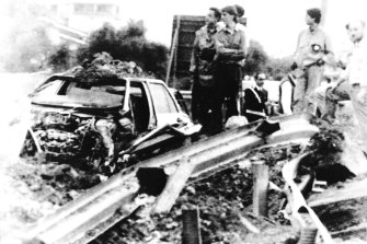 The remains of Italian judge Giovanni Falcone's car, which was blown up in May 1992, as pay back for his conviction in 1987 of more than 300 mafiosi.  Mr Falcone, his wife, a fellow magistrate and three bodyguards died in the explosion.