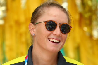 Alyssa Healy speaks at the celebration for Australia's World Cup win at Federation Square on Monday.