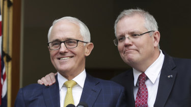 Former Liberal leader Malcolm Turnbull with Prime Minister Scott Morrison during happier times.