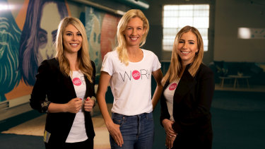 From left to right: Gemma Lloyd, Kim Jackson and Valeria Ignatieva announce WORK180's expansion to the US market.