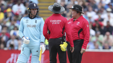 Jason Roy was given out caught behind but did not have a review left to challenge the umpire's decision.