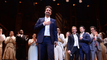 Lin-Manuel Miranda takes a bow after the opening night of Hamilton in Chicago in 2016.