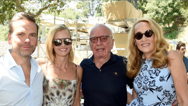 Happy days: Lachlan and Sarah Murdoch with Rupert Murdoch and Jerry Hall at Murdoch's Moraga Bel Air winery in California last year.