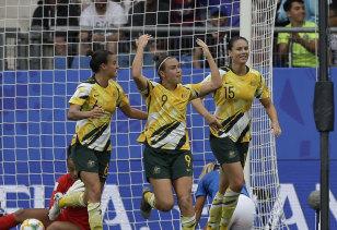 Caitlin Foord celebrates scoring Australia's  first goal against Brazil.