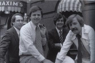 Gerald Stone in 1979 with his original 60 Minutes reporting team: Ray Martin, Ian Leslie and George Negus.