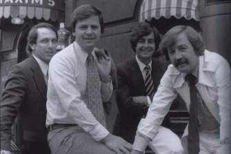 """A photo from the book ' Compulsive viewing : The Inside Story of Packer's Nine Network'  by Gerald Stone.  (L-R): Gerald Stone in 1979 with his original """"60 Minutes"""" reporting team, Ray Martin, Ian Leslie and George Negus.  The Maxim's in the background is in Melbourne, not Paris."""