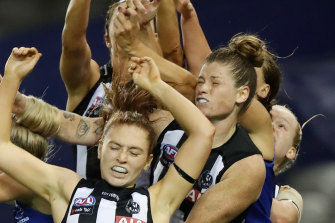 North Melbourne and Collingwood clash earlier this year.