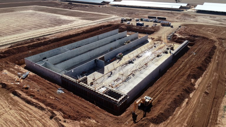 The biodigester is almost 100 metres long.