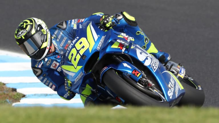 Long road to the top: Italian rider Andrea Iannone scorches around the Phillip Island circuit.