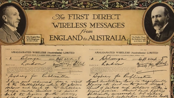 100 years on: First wireless message sent by PM Billy Hughes