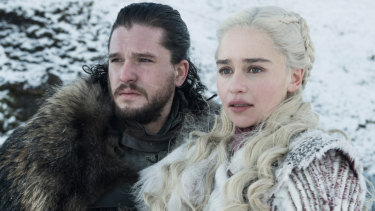 Kit Harington as Jon Snow, left, and Emilia Clarke as Daenerys Targaryen in a scene from Game of Thrones.
