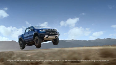 The Ford Ranger Raptor ad shows the 4WD vehicle flying through the air.