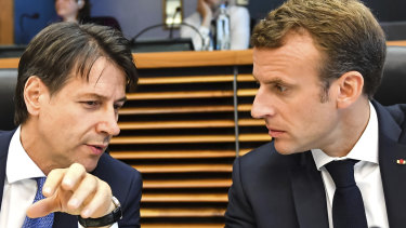 Italian Prime Minister Giuseppe Conte, left, with French President Emmanuel Macron, laid out a 10-point plan to reform EU migration policies.