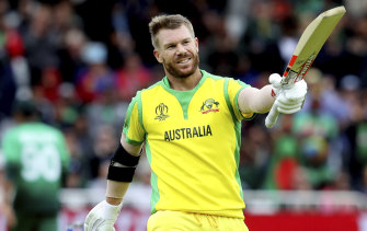 Australia's David Warner celebrates a century against Bangladesh at Trent Bridge on Thursday.