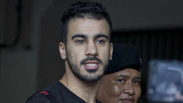 Hakeem al-Araibi as he is brought in to a court in Bangkok in December last year.