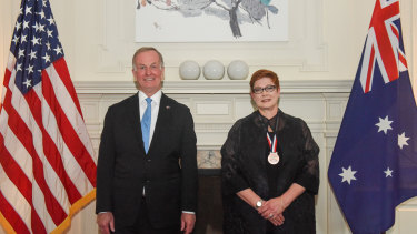US Ambassador to Australia Arthur B. Culvahouse Jr paid tribute to Foreign Minister Marise Payne at the US embassy in Canberra.