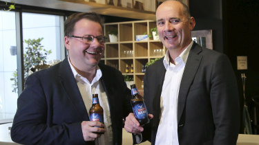 AHA president Scott Leach (left) with Lion MD James Brindley. A renewable energy deal between Lion, the AHA and ENGIE is set to reduce the electricity bills for up to 300 NSW pubs.