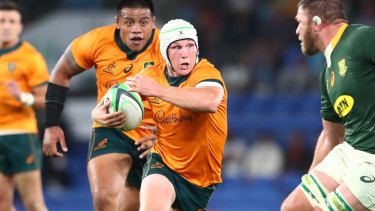 Tough as they come ... Michael Hooper wore headgear against South Africa after suffering a head wound in a recent Test against New Zealand.