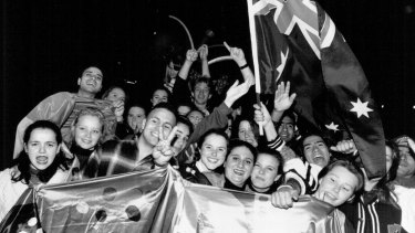 Scenes from Homebush Bay after the announcement, September 24, 1993.