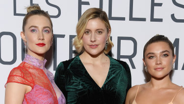 ''I felt like Florence could really be a formidable opponent'': Greta Gerwig with Saoirse Ronan (left) and Florence Pugh at the premiere of Little Women in Paris.