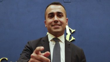 Leader of the Five Star Movement, Luigi Di Maio, meets the media in Rome on Tuesday.