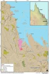 A map of the location of the proposed coal mine in central Queensland, put forward by the Clive Palmer-ownedMineralogy Pty Ltd.