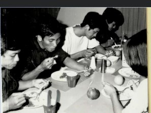 Stephen Nguyen (far left) at the first light meal on board HMAS Melbourne.