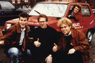 Frederic Hauge (right) with synth-pop band A-ha and the converted Fiat Panda.