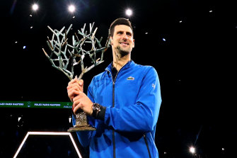 Novak Djokovic after winning the Paris Masters on Sunday.