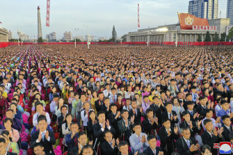 A photo provided by the North Korean government shows people at the Kim-il Sung Square to celebrate the 75th anniversary of the country's Workers' Party in Pyongyang, North Korea, on Saturday, October 10.
