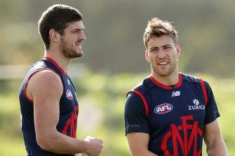 Angus Brayshaw (left) and Jack Viney.