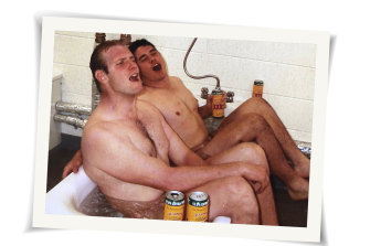 David Giffin, left, and Jeremy Paul celebrate.