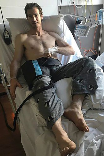 Andy Murray after hip surgery in Melbourne in 2018.