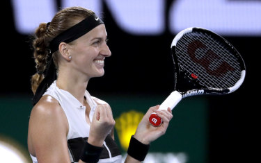 All smiles: Petra Kvitova celebrates victory over Danielle Collins.